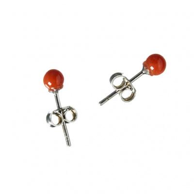 Orecchini tondi di Corallo Rosso Naturale e Argento 925