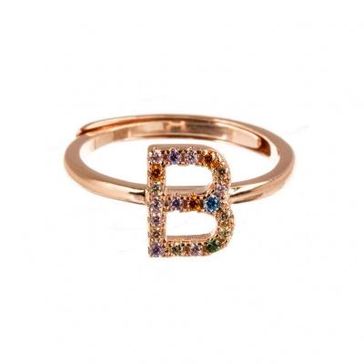 Anello Lettera B in Argento 925 Rosa e Zirconi Colorati Regolabile
