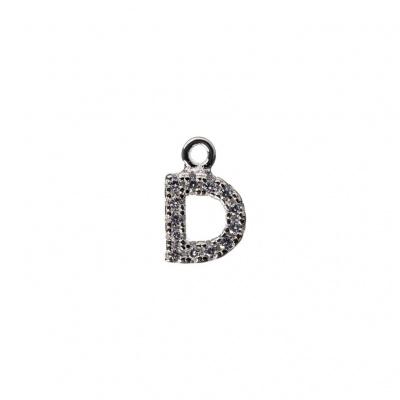 Pendente Alfabeto lettera D in Argento 925 e Zirconi