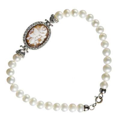 Bracciale di Argento 925 con Perle e Cammeo ovale