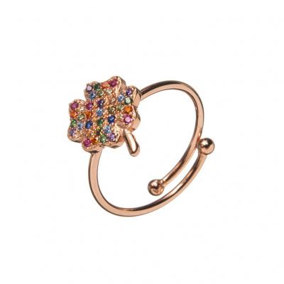 Anello Quadrifoglio in Argento Rosa 925 con Zirconi Multicolore