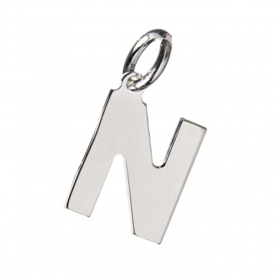 Pendente Lettera N in Argento 925 - 15 mm