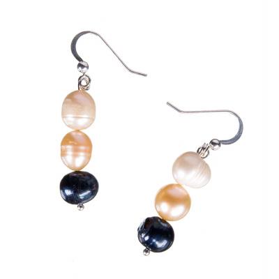 Orecchini tondi a 3 Perle Multicolor e Argento 925