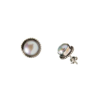 Orecchini tondi con Argento 925 e Perla
