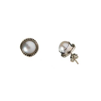 Orecchini tondi di Perla e Argento 925