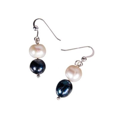 Orecchini tondi a 2 Perle Multicolor e Argento 925
