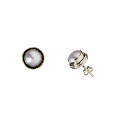 Orecchini tondi di Argento 925 e Perla