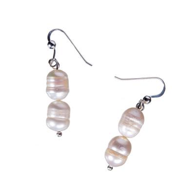 Orecchini ovali a 2 Perle Bianche e Argento 925