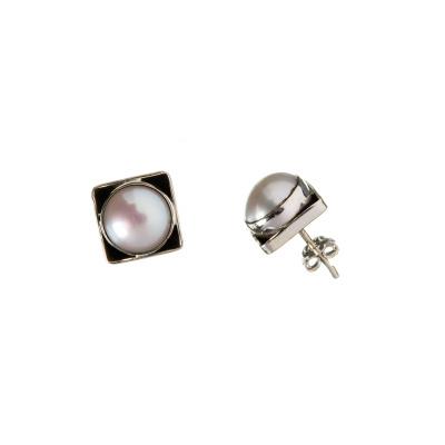Orecchini tondi in Perla e Argento 925