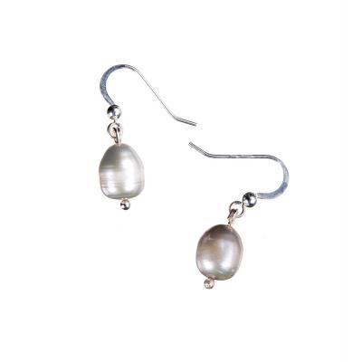 Orecchini ovali ad 1 Perla Grigia e Argento 925