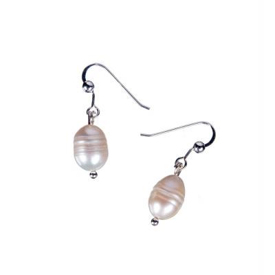 Orecchini ovali ad 1 Perla Bianca e Argento 925