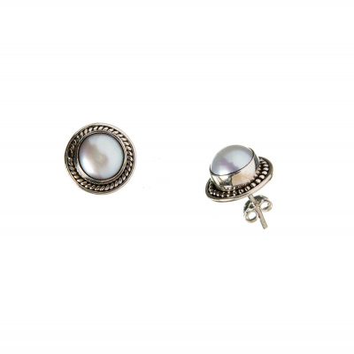 Orecchini tondi con Perla e Argento 925