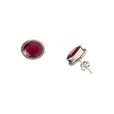 Orecchini con cabochon ovale in Rubino e Argento 925