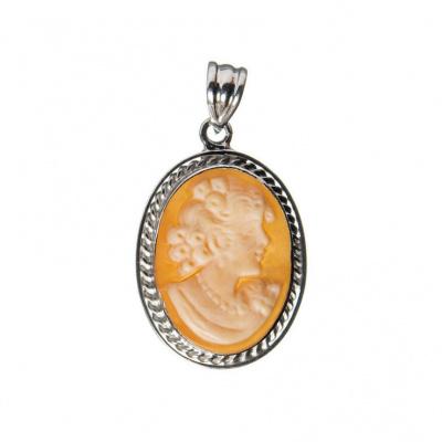 Ciondolo Cammeo Profilo di Donna ovale e Argento 925