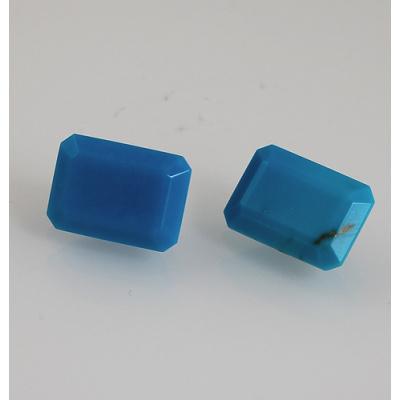 Gemme di Turchese - Taglio Smeraldo - (Coppia) 1.0x1.4x0.77
