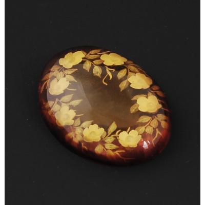 Cabochon in Ambra del Baltico - Corona di Fiori 2.8x3.8x1.0