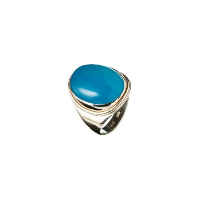 Anello in Agata Blu e Argento 925