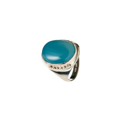 Anello con cabochon ovale in Agata Blu e Argento 925