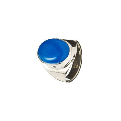 Anello unisex in Agata Blu e Argento 925