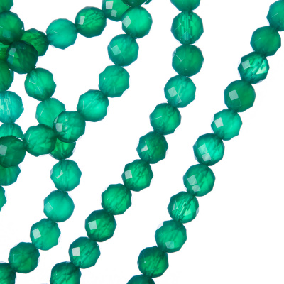 Agata Verde - Filo di sfere sfaccettate da 6mm