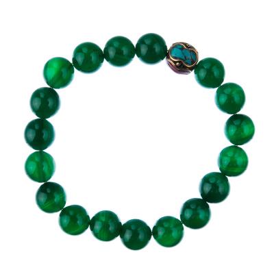 Bracciale Agata Verde con elemento tibetano, elastico, sfere 10mm