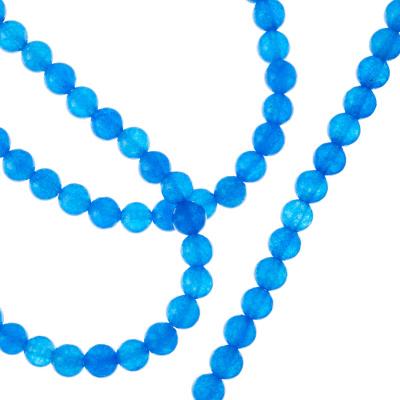 Agata Blu - Filo di sfere lisce da 4mm