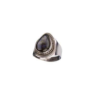 Anello con cabochon a goccia di Labradorite e Argento 925