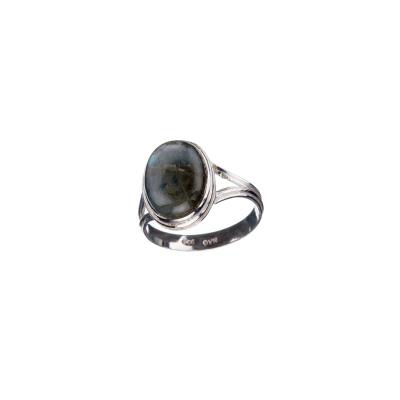 Anello con cabochon ovale in Labradorite e Argento 925