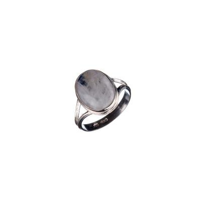 Anello con cabochon ovale di Labradorite Bianca e Argento 925