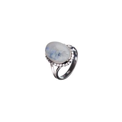 Anello ovale di Labradorite Bianca e Argento 925