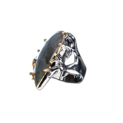 Anello di Labradorite a goccia e Argento 925