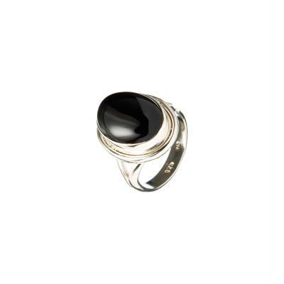 Anello cabochon Ovale in Onice Nera e Argento 925