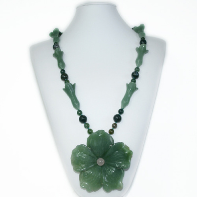 Collana Lunga di Avventurina Verde, Quarzo Rosa, Agata Muschiata e Ag 925
