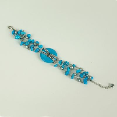 Bracciale Phi in Magnesite azzurra, Perle d'Acqua Dolce e Ag 925