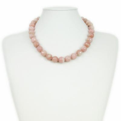 Collana Corta a Sfere di Opale Andino Rosa e Oro 18 k
