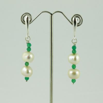 Orecchini in Perle, Agata Verde ed Argento