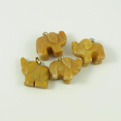 Ciondolo unisex con animale in Giada Gialla - Elefante