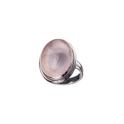 Anello a cabochon ovale in Quarzo Rosa e Argento 925