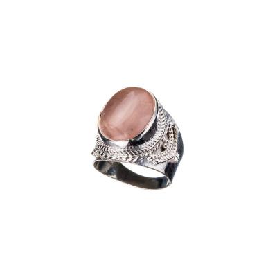 Anello con cabochon ovale in Quarzo Rosa e Argento 925