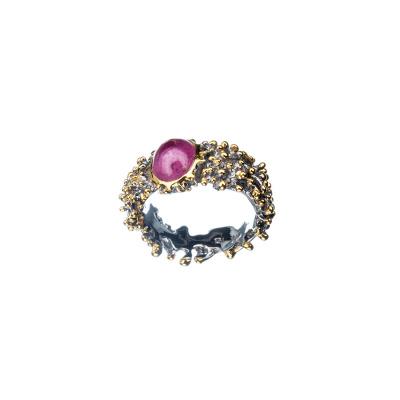 Anello unisex con Rubino ovale e Argento 925