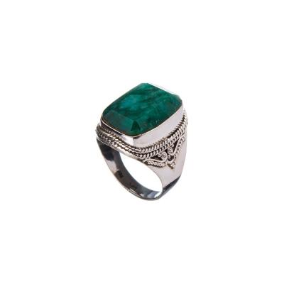 Anello a cabochon rettangolare in Smeraldo e Argento 925