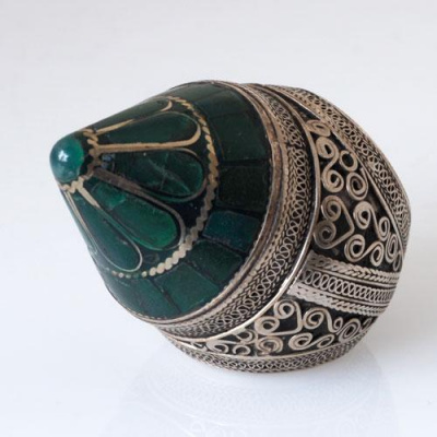 Anello Etnico in Malachite e Argento 925