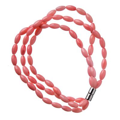 Bracciale a tre fili in Corallo Rosa bambù