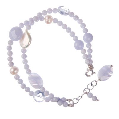 Bracciale a Sfere di Calcedonio con elementi in Perle