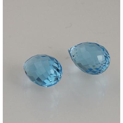 Gemme di Topazio Azzurro - Taglio Briolette - Goccia - (Coppia) 0.9x1.4x0.9