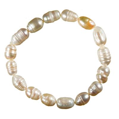 Bracciale di Perle di Acqua Dolce Ovali Bianche