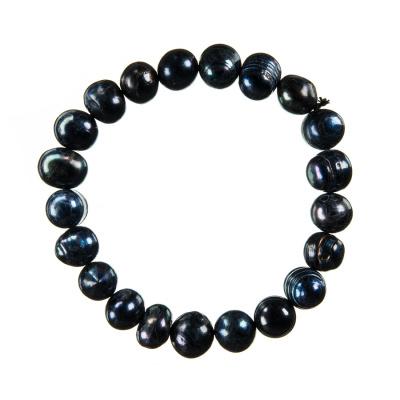 Bracciale di Perle di Acqua Dolce Tonde Nere