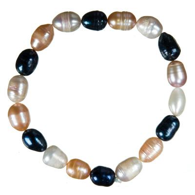 Bracciale di Perle di Acqua Dolce Ovali Multicolor