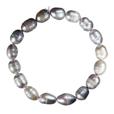 Bracciale di Perle di Acqua Dolce Ovali Grigie