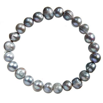 Bracciale di Perle di Acqua Dolce Tonde Grigie